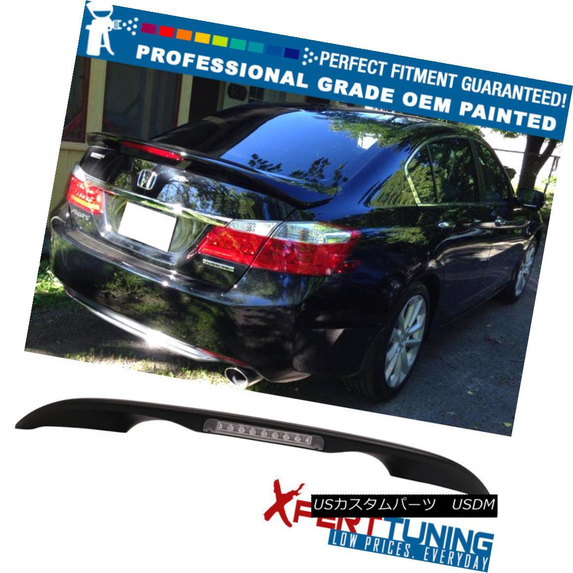 エアロパーツ Fits 13-17 Honda Accord Sedan OE Factory LED Trunk Spoiler - OEM Painted Color フィット13-17ホンダアコードセダンOE工場LEDトランクスポイラー - OEM塗装色