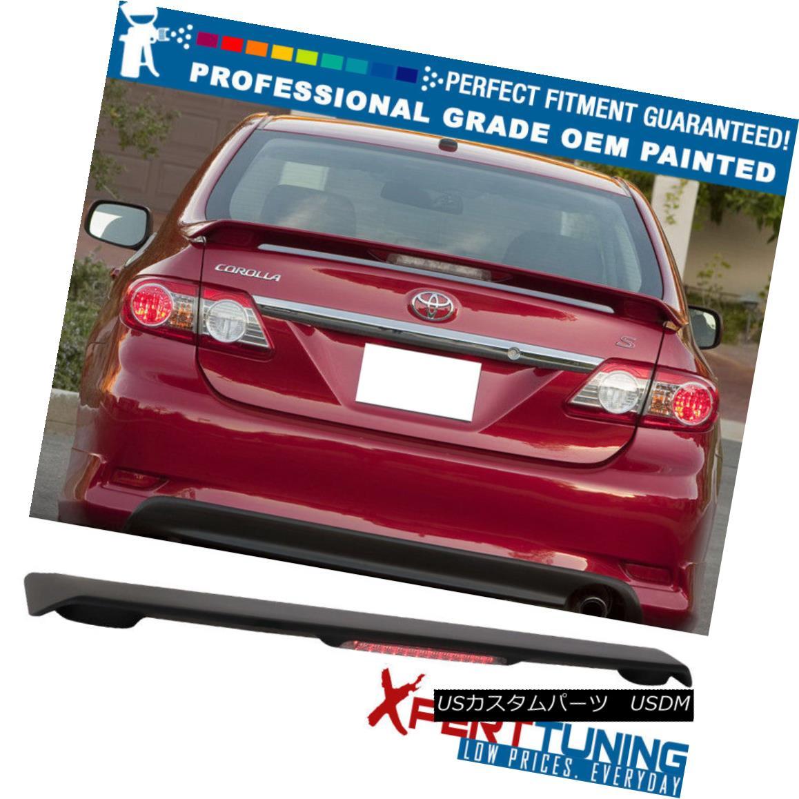 エアロパーツ Fit 09-13 Toyota Corolla OE Style Trunk Spoiler & LED Brake OEM Painted Color フィット09-13トヨタカローラOEスタイルトランクスポイラー& LEDブレーキOEM塗装色