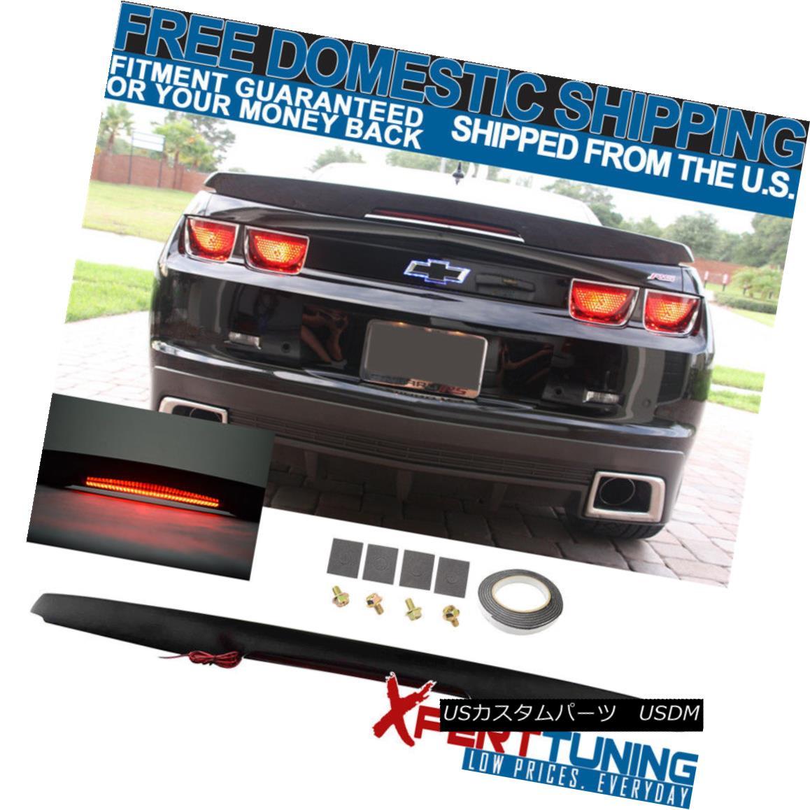 エアロパーツ Fit For Camaro ZL1 Style Trunk Spoiler Wing Unpainted Black W LED 3Rd Brake カマロZL1スタイルのトランク・スポイラー・ウィング・アンパインド・ブラックW LED 3RDブレーキ