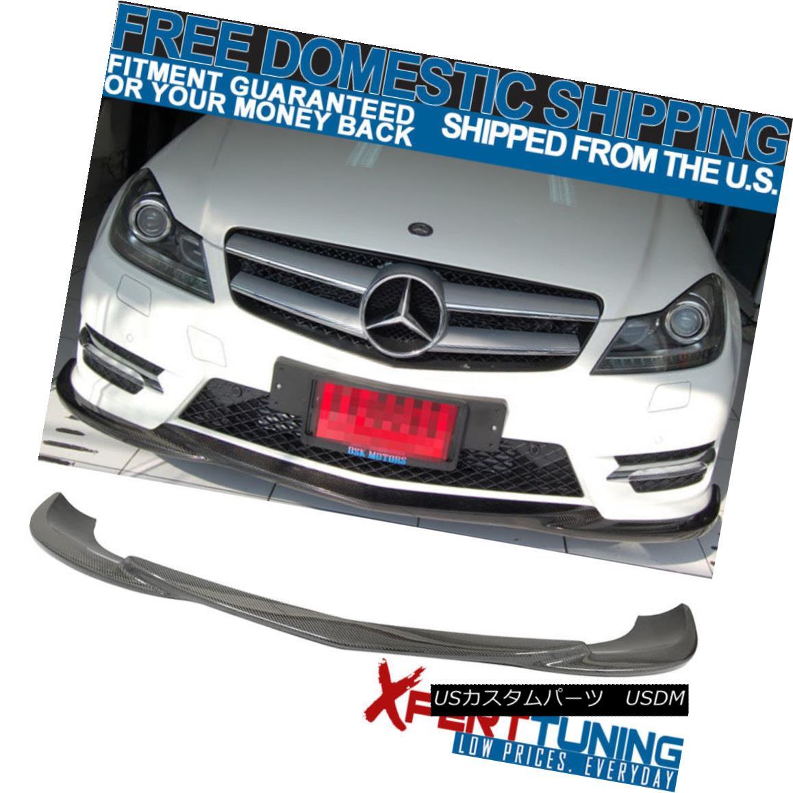 エアロパーツ 12-14 Benz C-class W204 LCI Godhand Carbon Fiber CF Front Bumper Lip Spoiler 12-14ベンツCクラスW204 LCIゴッドハンドカーボンファイバーCFフロントバンパーリップスポイラー