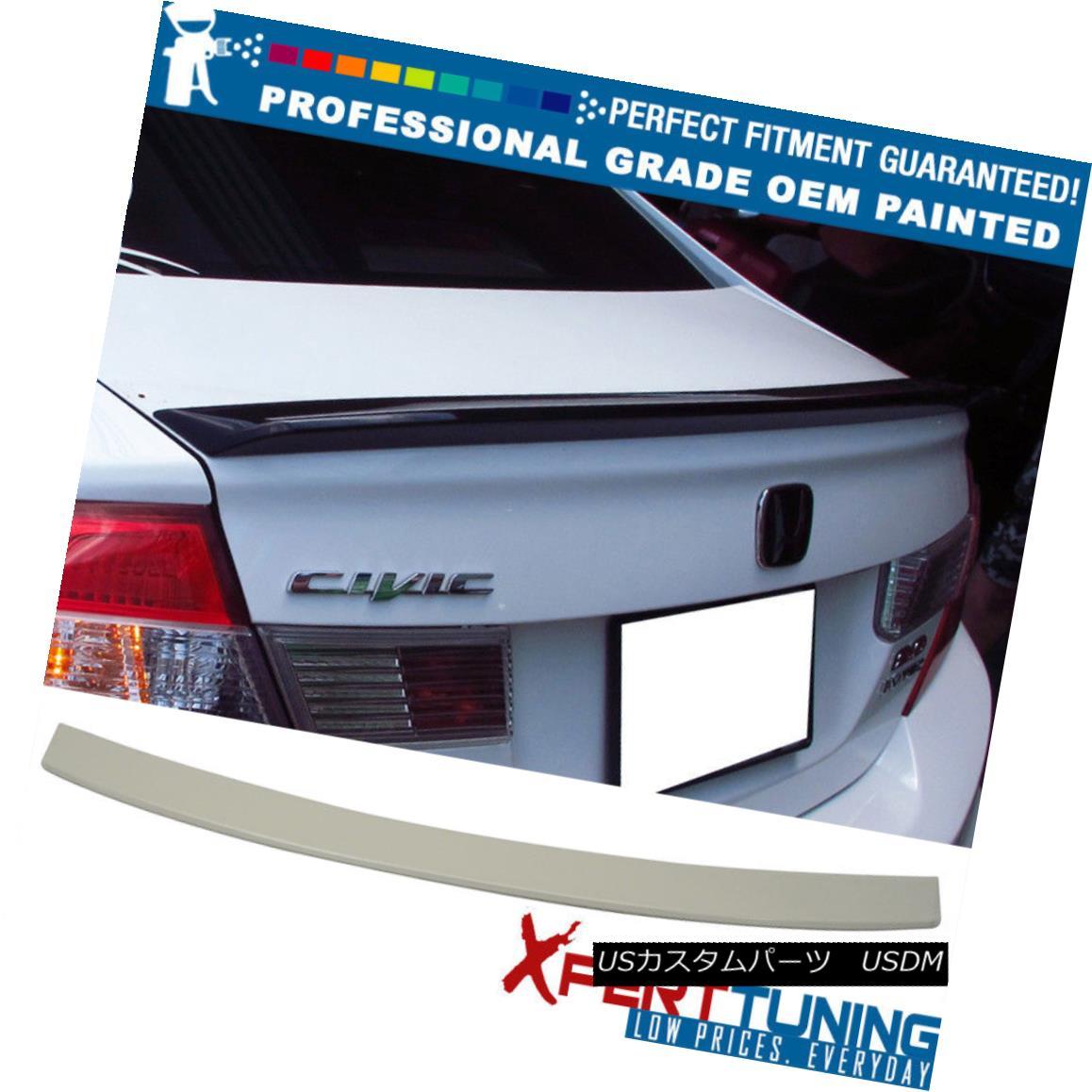 エアロパーツ 12 Honda Civic 9 Gen D Style Painted ABS Trunk Spoiler - OEM Painted Color 12ホンダシビック9 Gen Dスタイル塗装ABSトランクスポイラー - OEM塗装色