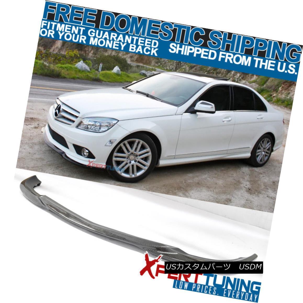エアロパーツ Fit For 08-11 Benz C-Class W204 AMG Carbon Fiber CF Front Bumper Lip Spoiler フィット8-11ベンツCクラスW204 AMGカーボンファイバーCFフロントバンパーリップスポイラー
