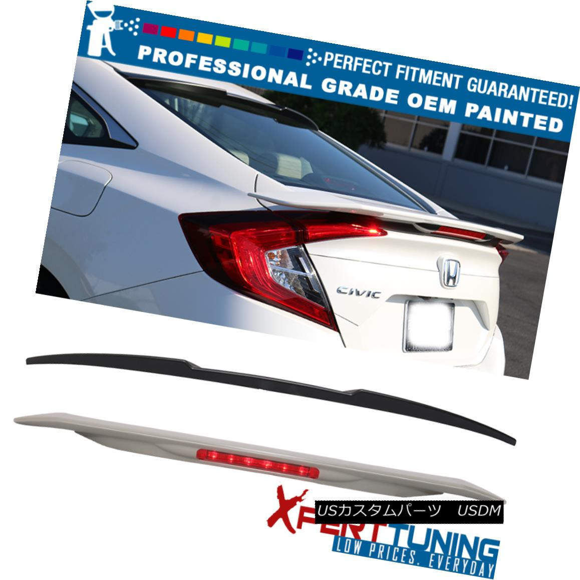 エアロパーツ 16-18 Civic Sedan FC1 Painted JDM SI Roof & RS Trunk Spoiler - OEM Painted Color 16-18シビックセダンFC1塗装JDM SIルーフ& RSトランク・スポイラー - OEM塗装色