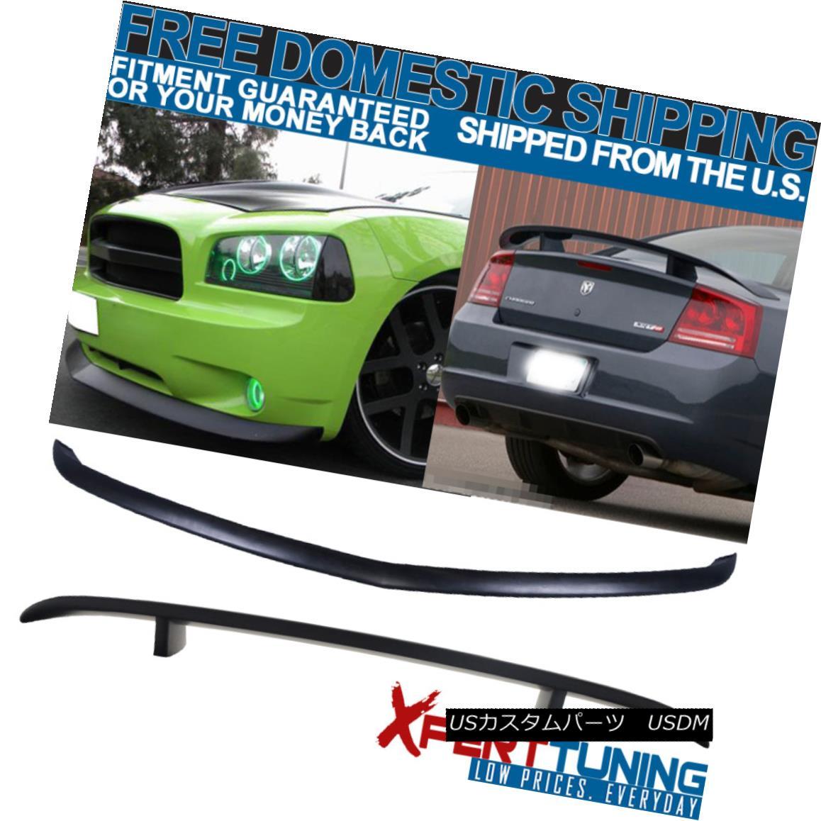 エアロパーツ Fit 06-10 Dodge Charger PU Front Bumper Lip & Matte Black ABS Rear Trunk Spoiler フィット06-10ダッジチャージャーPUフロントバンパーリップ& マットブラックABSリアトランクスポイラー