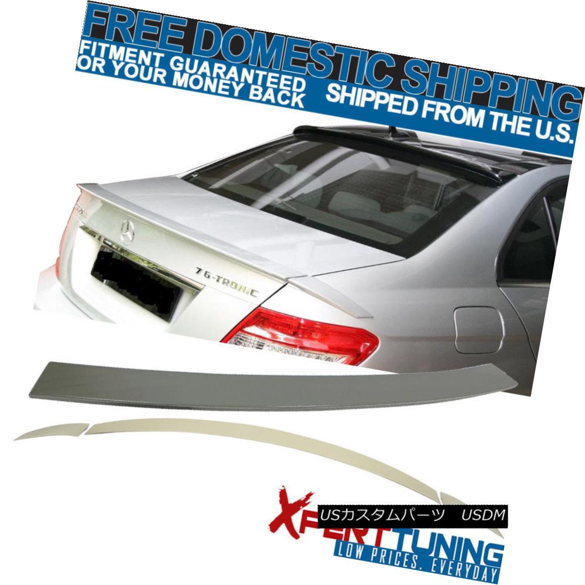 エアロパーツ 08-14 Benz C Class W204 4Dr Brabus Trunk Spoiler + OE Roof Spoiler Unpainted ABS 08-14ベンツCクラスW204 4Drブラバストランクスポイラー+ OEルーフスポイラー無塗装ABS
