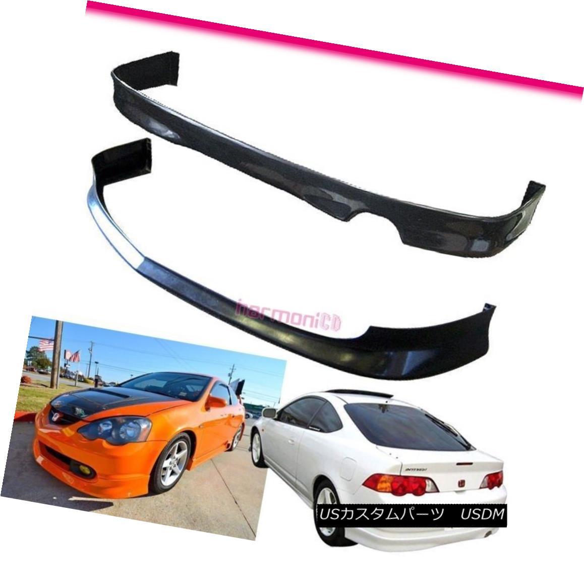 エアロパーツ Fits 2002-2004 Acura RSX 2Dr PU Front+Rear Bumper Lip JDM Style フィット2002-2004 Acura RSX 2Dr PUフロント+リアバンパーリップJDMスタイル