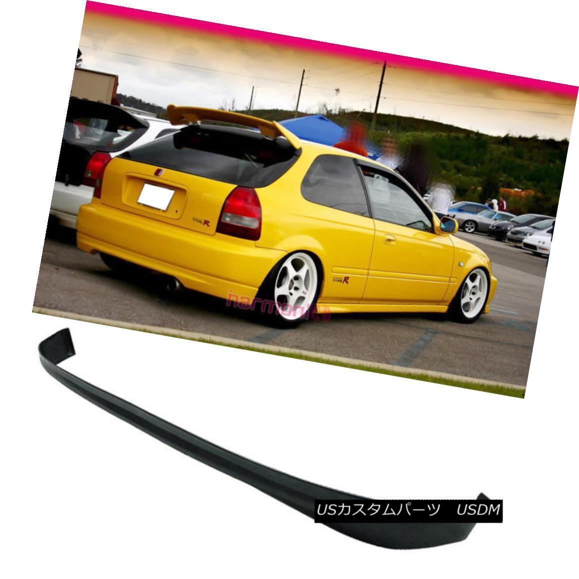 エアロパーツ Fits 96-00 Honda Civic Hatchback 3Dr Rear Bumper Lip Spoiler PU フィット96-00ホンダシビックハッチバック3DrリアバンパーリップスポイラーPU
