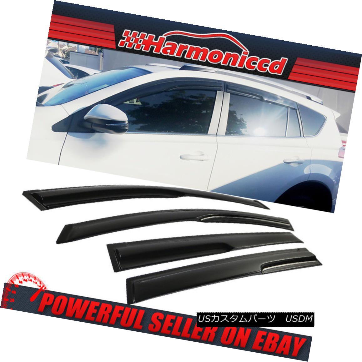 【高価値】 エアロパーツ Fits 13-18 RAV4 XU50 Smoked Aero JDM Stick On Window Visors Wind Deflectors 13-18 RAV4 XU50に適合するウィンドウバイザーウィンデフレクターのスモークエアロJDMスティック, ユニベティ 810ede97