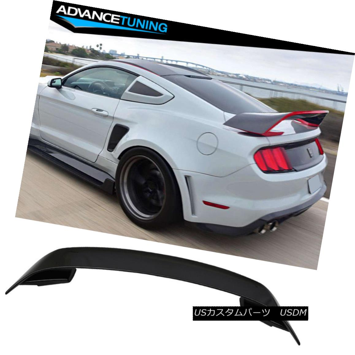 エアロパーツ 15-18 Ford Mustang GT350 Style V2 Rear Black Trunk ABS Spoiler Wing 2015 2016 15-18フォードマスタングGT350スタイルV2リアブラックトランクABSスポイラーウィング2015 2016