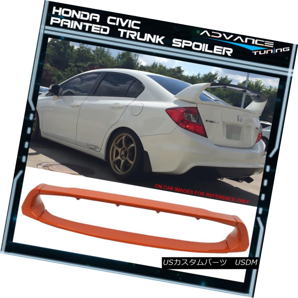 エアロパーツ 12-15 Honda Civic Sedan Mugen Trunk Spoiler OEM Painted YR612P Orange Fire Pearl 12-15ホンダシビックセダン無限貨物スポイラーOEM塗装YR612Pオレンジファイアーパール