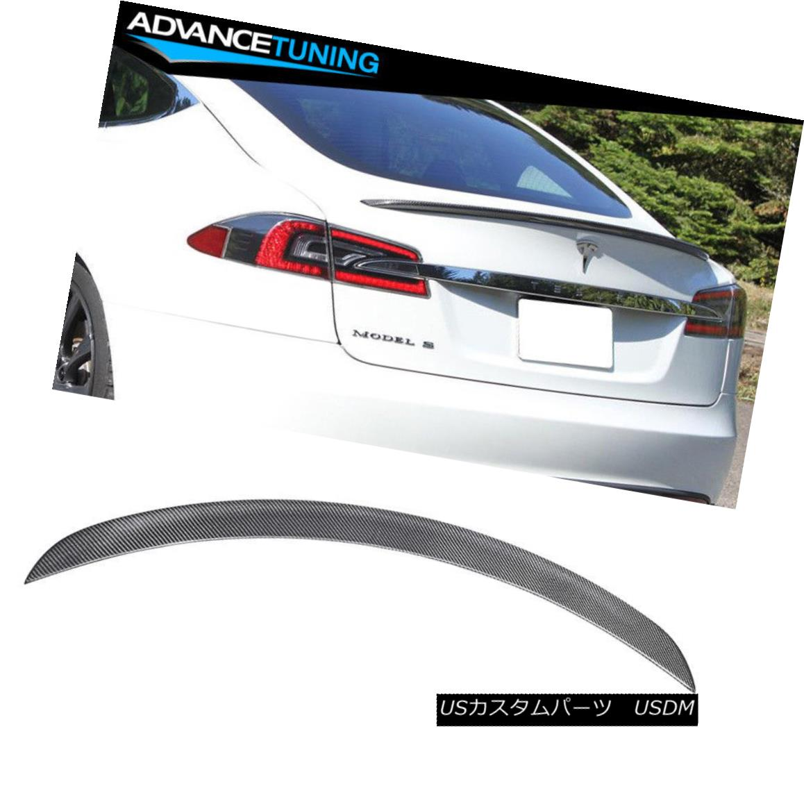 エアロパーツ 12-16 Tesla Model S Rear Trunk Spoiler Wing Carbon Fiber CF 12-16 Tesla Model SリアトランクスポイラーウィングカーボンファイバーCF