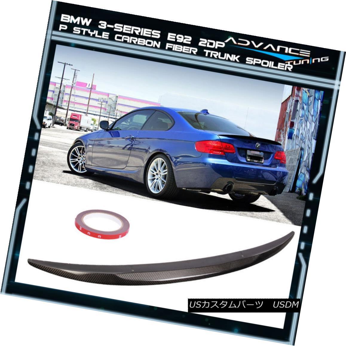 エアロパーツ 07-10 BMW 3-Series E92 2Dr Coupe M3 P Style Carbon Fiber Trunk Spoiler Lid Wing 07-10 BMW 3シリーズE92 2DrクーペM3 Pスタイルカーボンファイバートランク・スポイラーリッドウイング