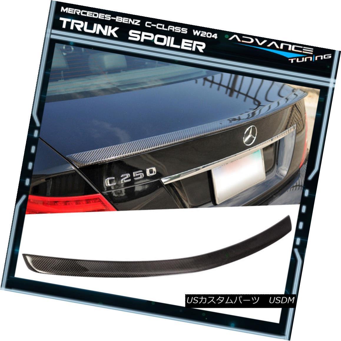 エアロパーツ 08-14 Mercedes-Benz C-Class W204 4D Rear Trunk Spoiler Wing - Carbon Fiber 08-14メルセデス・ベンツCクラスW204 4Dリアトランク・スポイラー・ウィング - カーボン・ファイバー