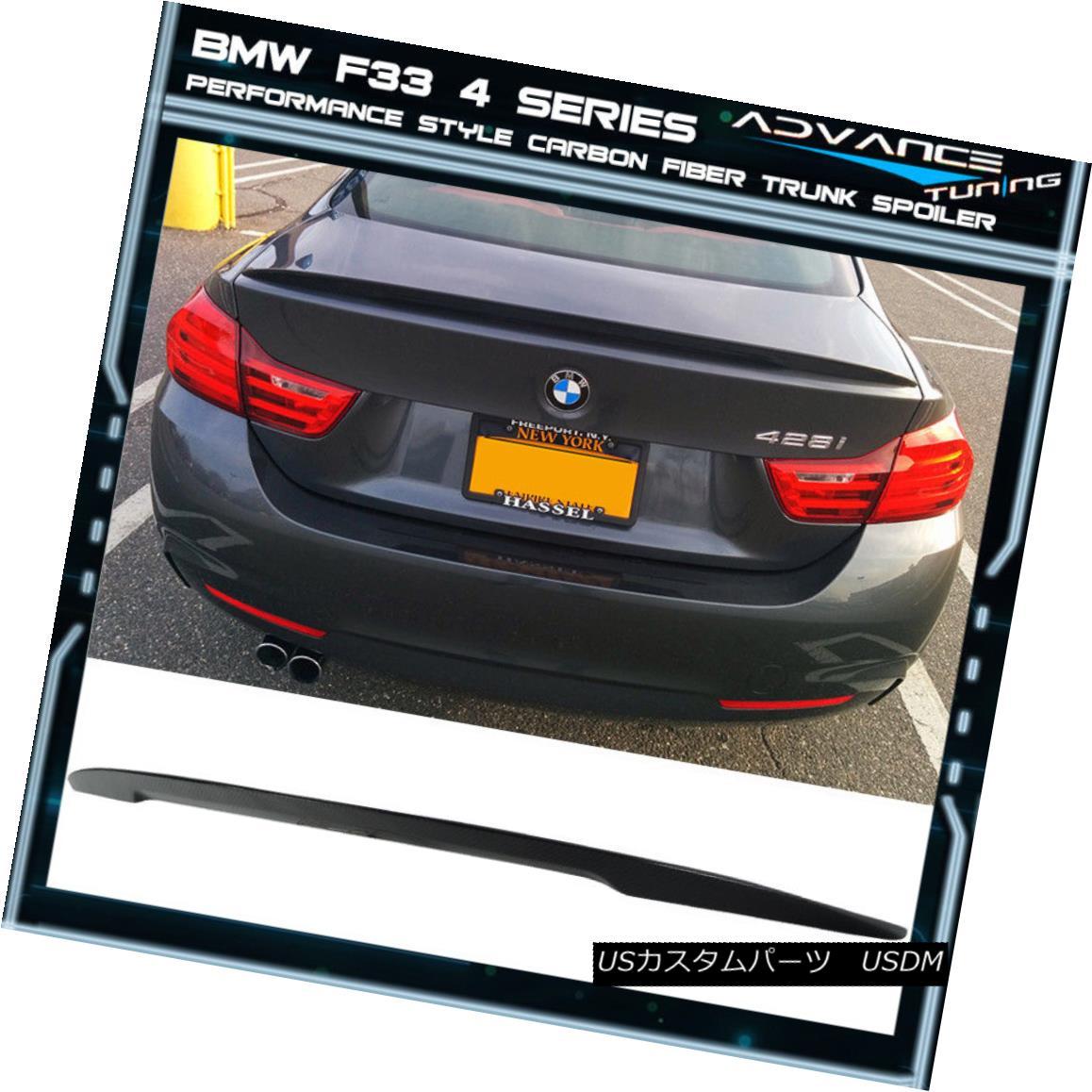 エアロパーツ 14-17 BMW F33 4 Series P Style Carbon Fiber CF Trunk Spoiler 14-17 BMW F33 4シリーズPスタイル炭素繊維CFトランク・スポイラー