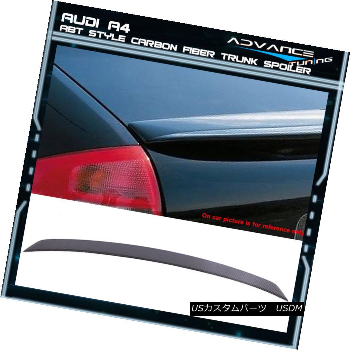 エアロパーツ 02-05 Audi A4 B6 ABT Style Carbon Fiber CF Trunk Spoiler 02-05アウディA4 B6 ABTスタイル炭素繊維CFトランク・スポイラー