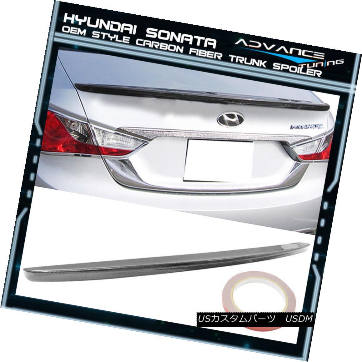 エアロパーツ Fits 11-14 Hyundai Sonata OE Style CF Carbon Fiber Trunk Spoiler フィット11-14現代ソナタOEスタイルCF炭素繊維トランク・スポイラー