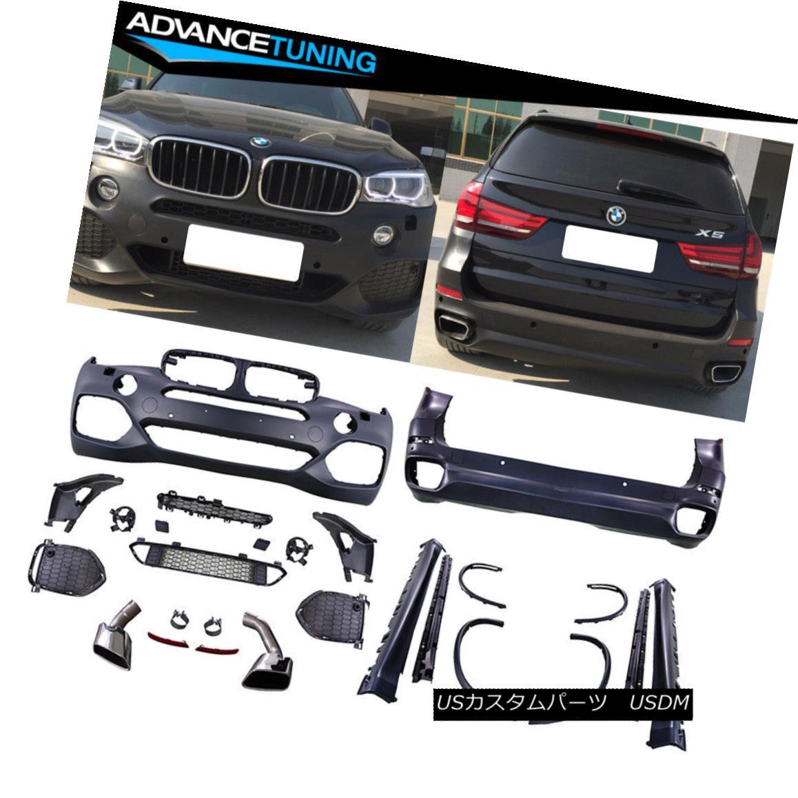 エアロパーツ Fits 14-17 BMW F15 X5 M-Tech Complete Kits Full Conversion Black PP フィット14-17 BMW F15 X5 M-TechコンプリートキットフルコンバージョンブラックPP