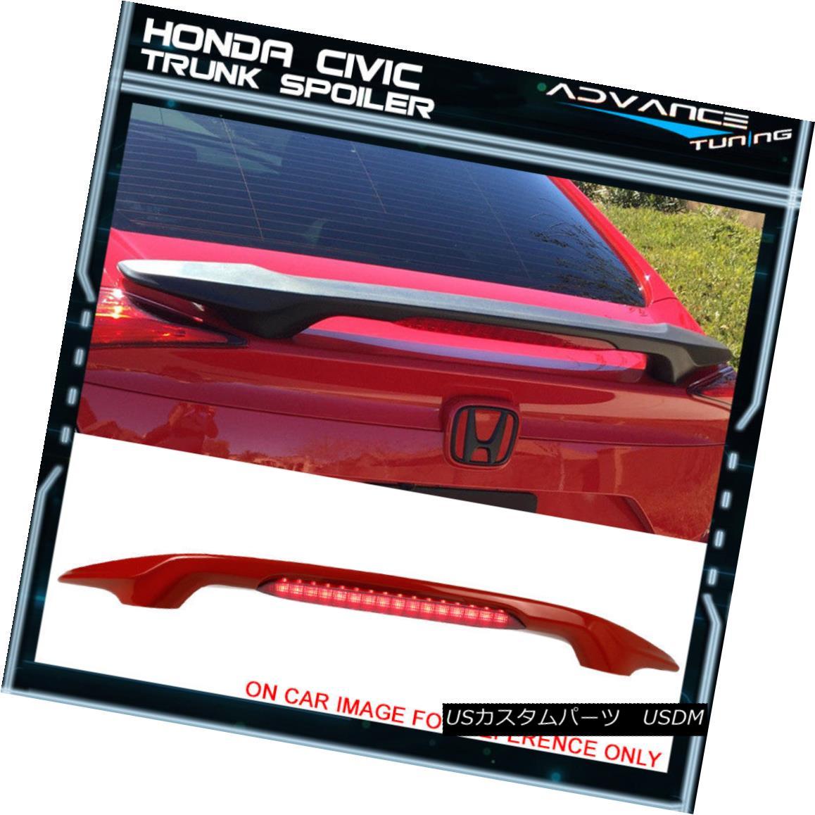 エアロパーツ 16-18 Honda Civic Trunk Spoiler W/ LED Brake Light Painted Rallye Red #R513 16-18ホンダシビックトランク・スポイラーW / LEDブレーキライト・ラリー・レッド#R513