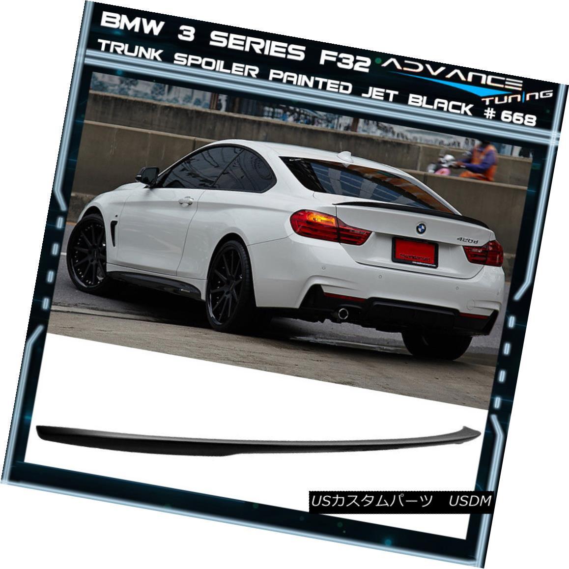 エアロパーツ 14-17 BMW 3 Series F32 P Style Trunk Spoiler OEM Painted Color Jet Black #668 14-17 BMW 3シリーズF32 PスタイルトランクスポイラーOEM塗装カラージェットブラック#668