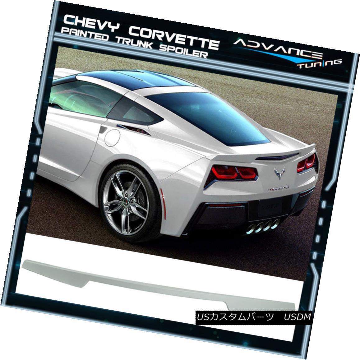 エアロパーツ 14-18 Chevy Corvette C7 Trunk Spoiler OEM Painted Color Arctic White WA9567 14-18シボレーコルベットC7トランクスポイラーOEM塗装カラーアークティックホワイトWA9567