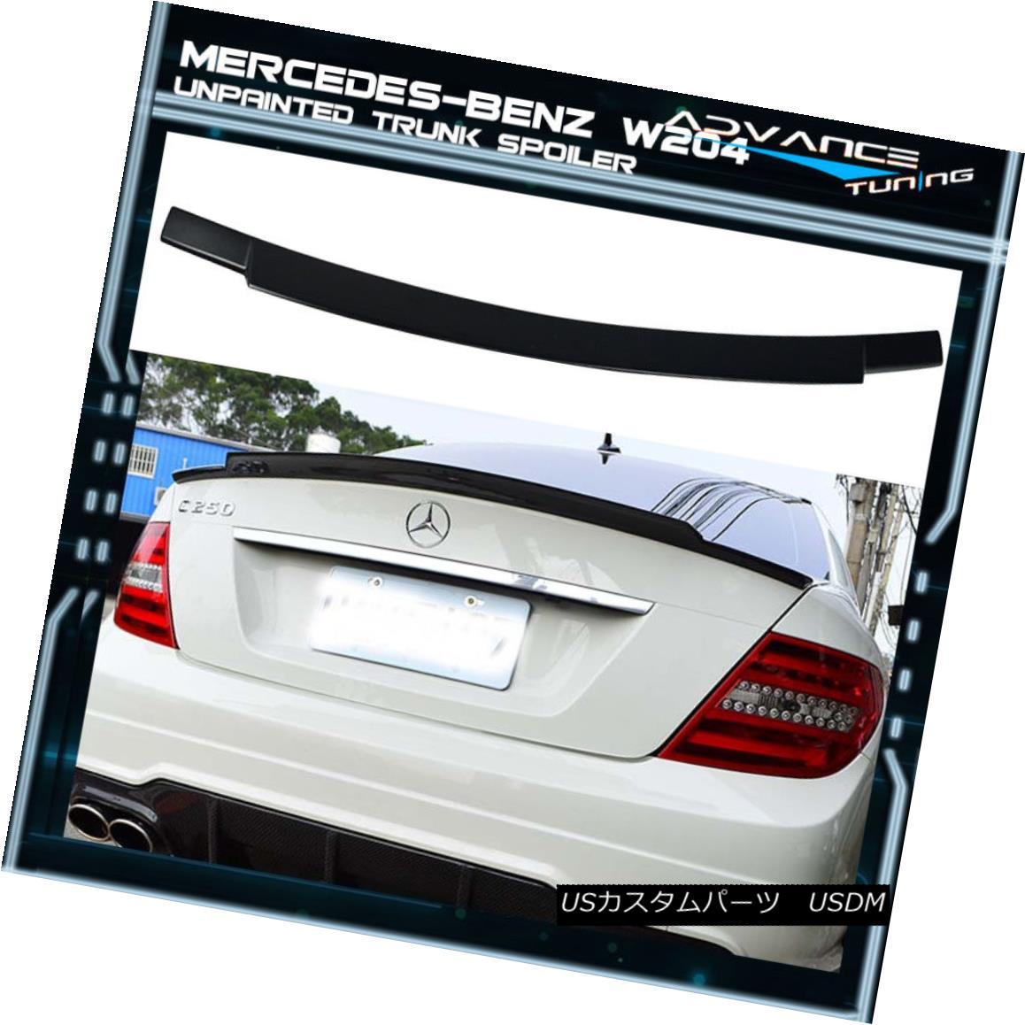 エアロパーツ Fits 08-14 Benz C-Class W204 4Dr Sedan V Style Unpainted Trunk Spoiler - ABS フィット08-14ベンツCクラスW204 4DrセダンVスタイル無塗装トランクスポイラー - ABS