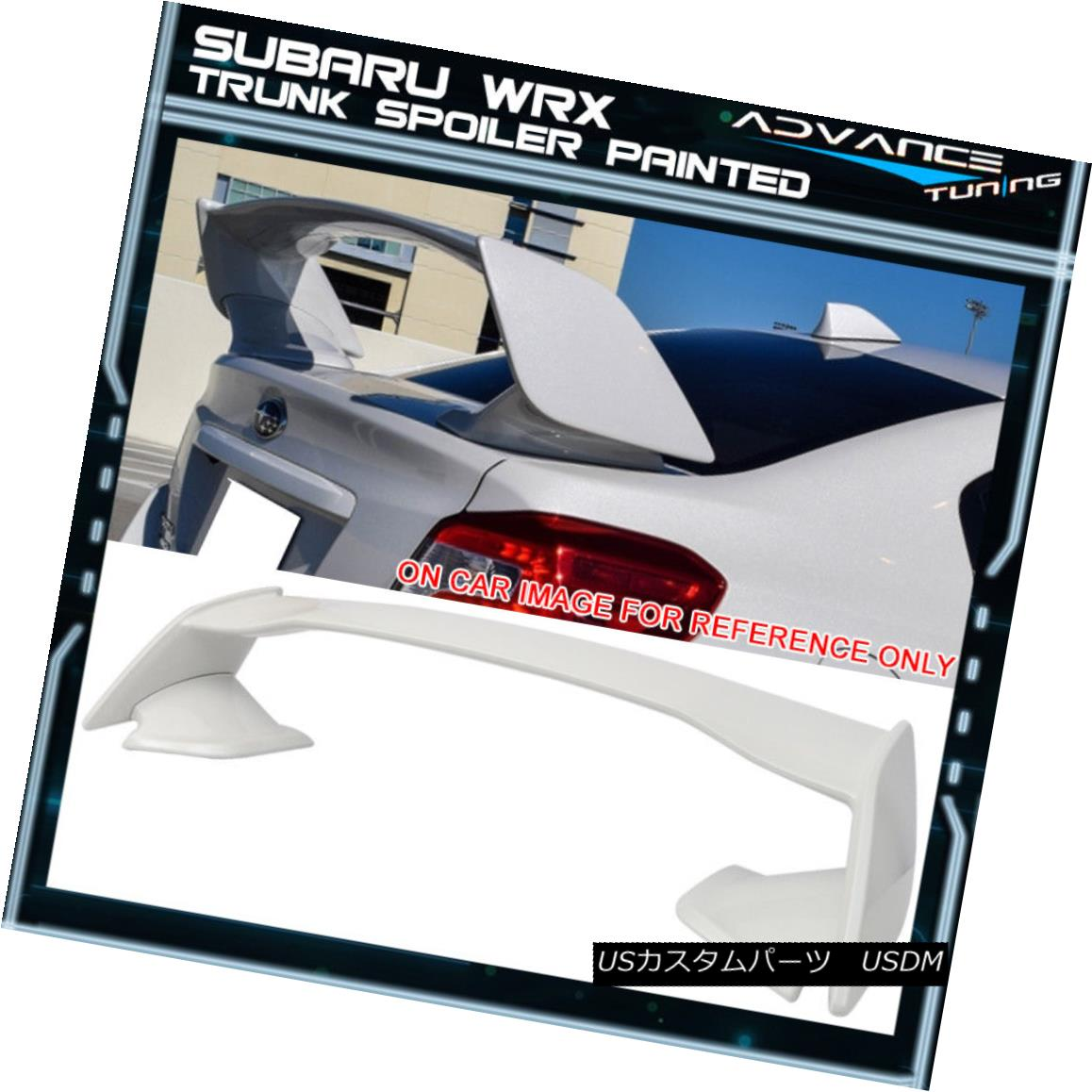 エアロパーツ Fits 15-18 Subaru WRX STI Style ABS Trunk Spoiler Painted #37J Satin White Pearl フィット15-18スバルWRX STIスタイルABSトランクスポイラー#37Jサテンホワイトパール