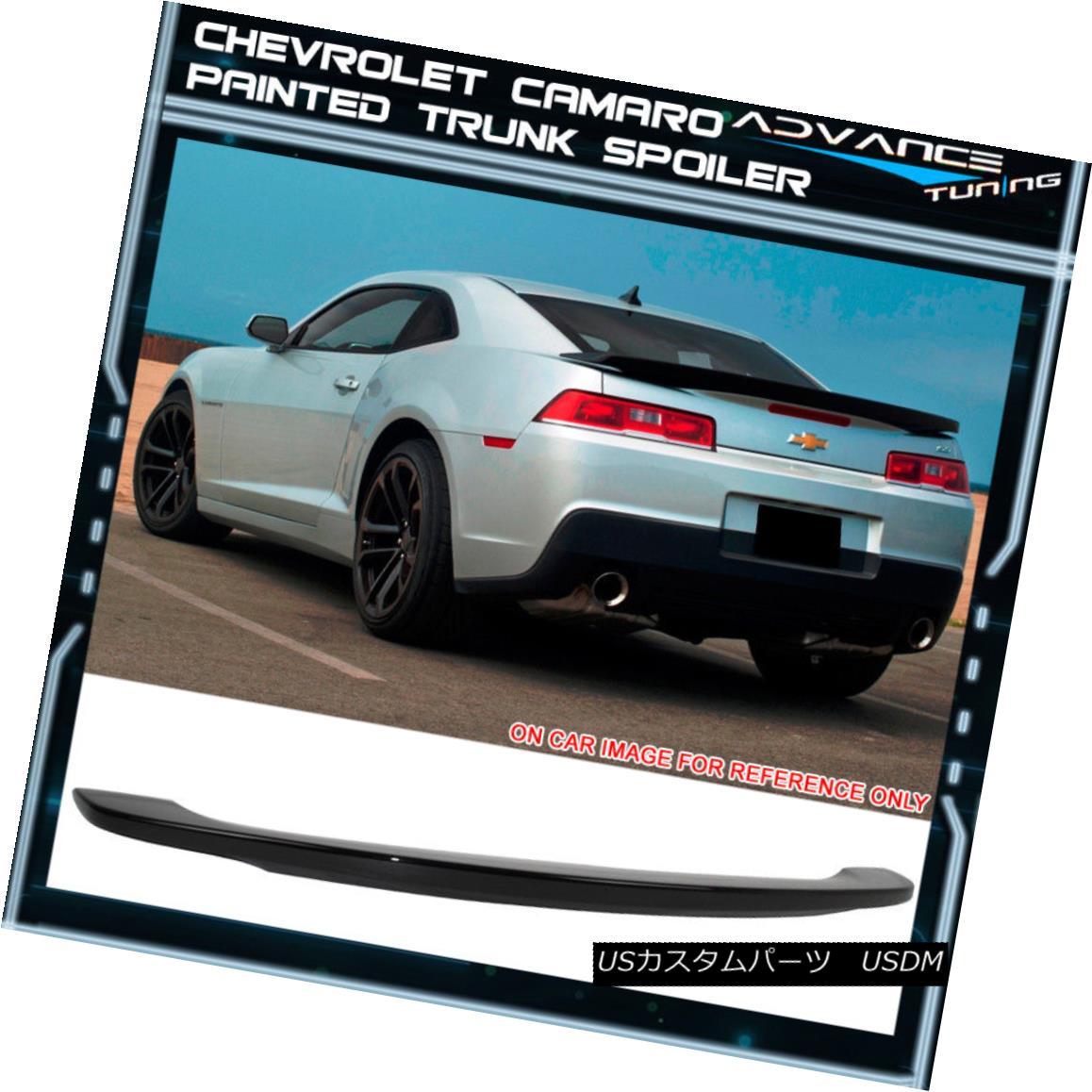 エアロパーツ 14-15 Chevy Camaro OE Style Low Blade Trunk Spoiler Painted Black - ABS 14-15シボレーカマロOEスタイル低ブレードトランクスポイラー黒塗装 - ABS