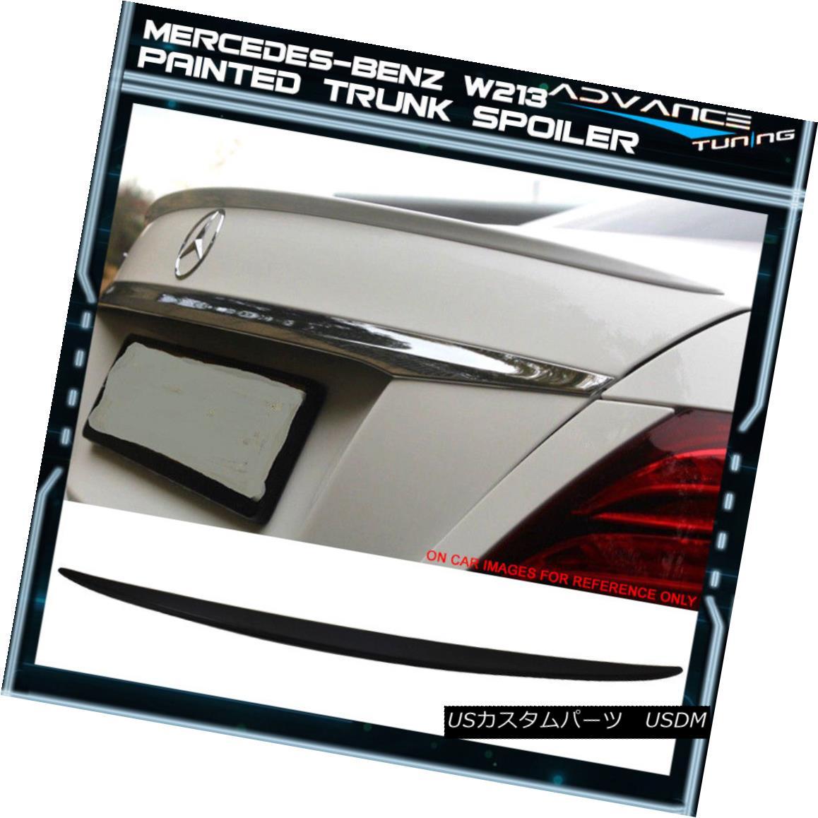 エアロパーツ 17-18 Benz E Class W213 Sedan OE Trunk Spoiler OEM Painted #197 Obsidian Black 17-18ベンツEクラスW213セダンOEトランク・スポイラーOEMペイント#197黒曜石