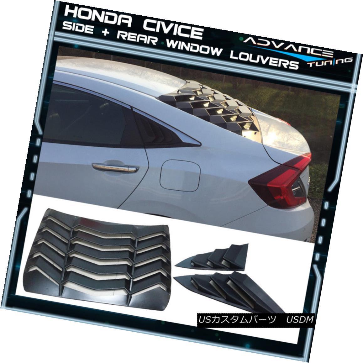 2021人気No.1の エアロパーツ For Pair 16-18 For Honda Civic Sedan Rear + Louvers Side Pair Window Louvers Black ABS 16-18ホンダシビックセダンリア+サイドペアルーバーブラックABS, タキノチョウ:ab796a4d --- verandasvanhout.nl