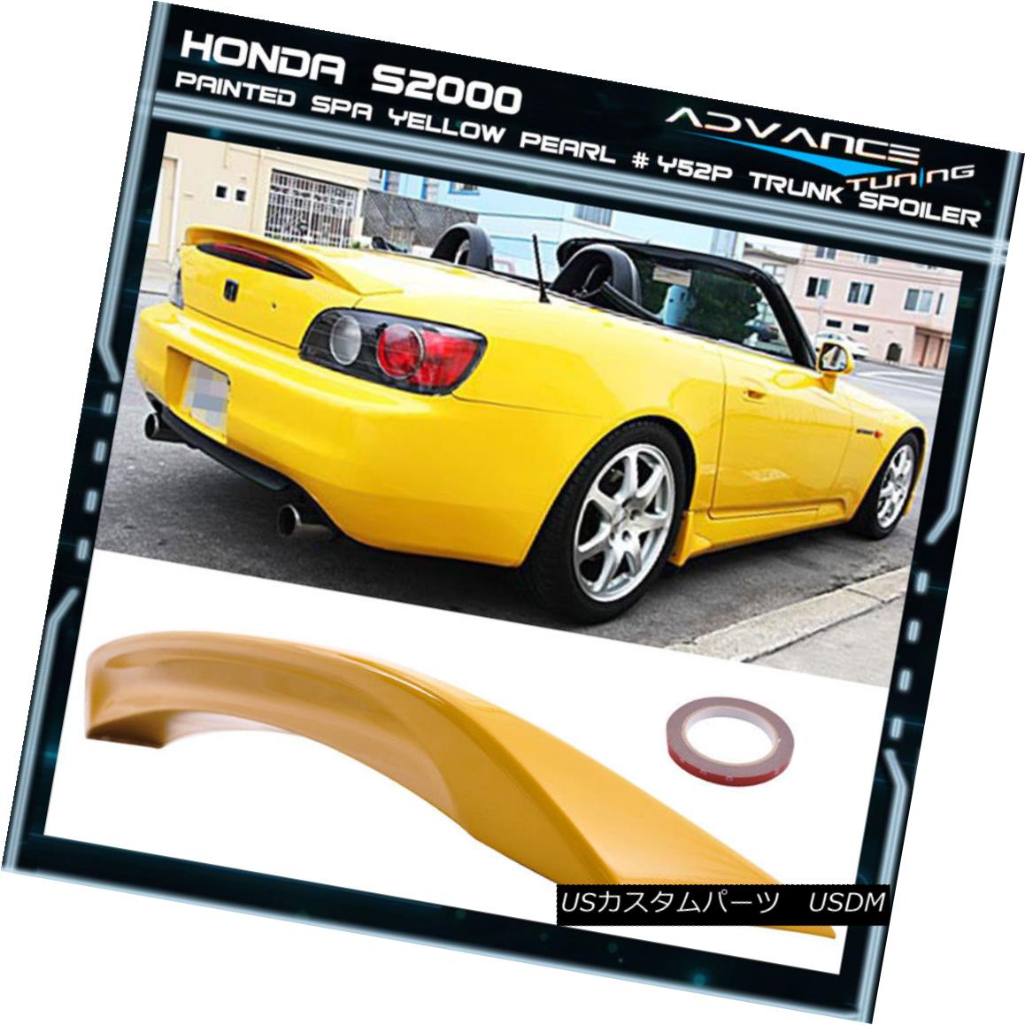 エアロパーツ 01-03 S2000 Ap1 2DR ABS Trunk Spoiler OEM Painted Color Spa Yellow Pearl # Y52P 01-03 S2000 Ap1 2DR ABSトランクスポイラーOEM塗装カラースパイエローパール#Y52P