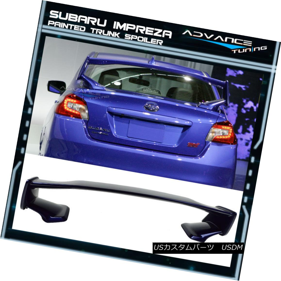 エアロパーツ Fits 15-18 Subaru WRX STI Style ABS Trunk Spoiler Painted #K3X Lapis Blue Pearl フィット15-18スバルWRX STIスタイルABSトランクスポイラー塗装#K3Xラピスブルーパール