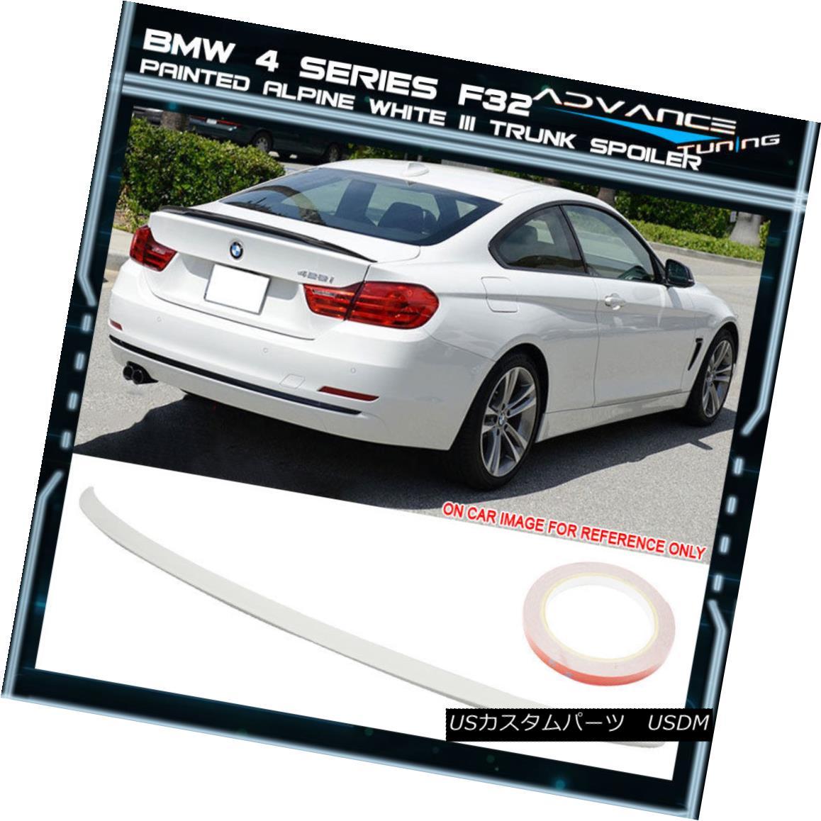 エアロパーツ 14-17 BMW 4 Series F32 Trunk Spoiler OEM Painted Color Alpine White Iii #300 14-17 BMW 4シリーズF32トランク・スポイラーOEM塗装カラーアルパイン・ホワイトIii#300