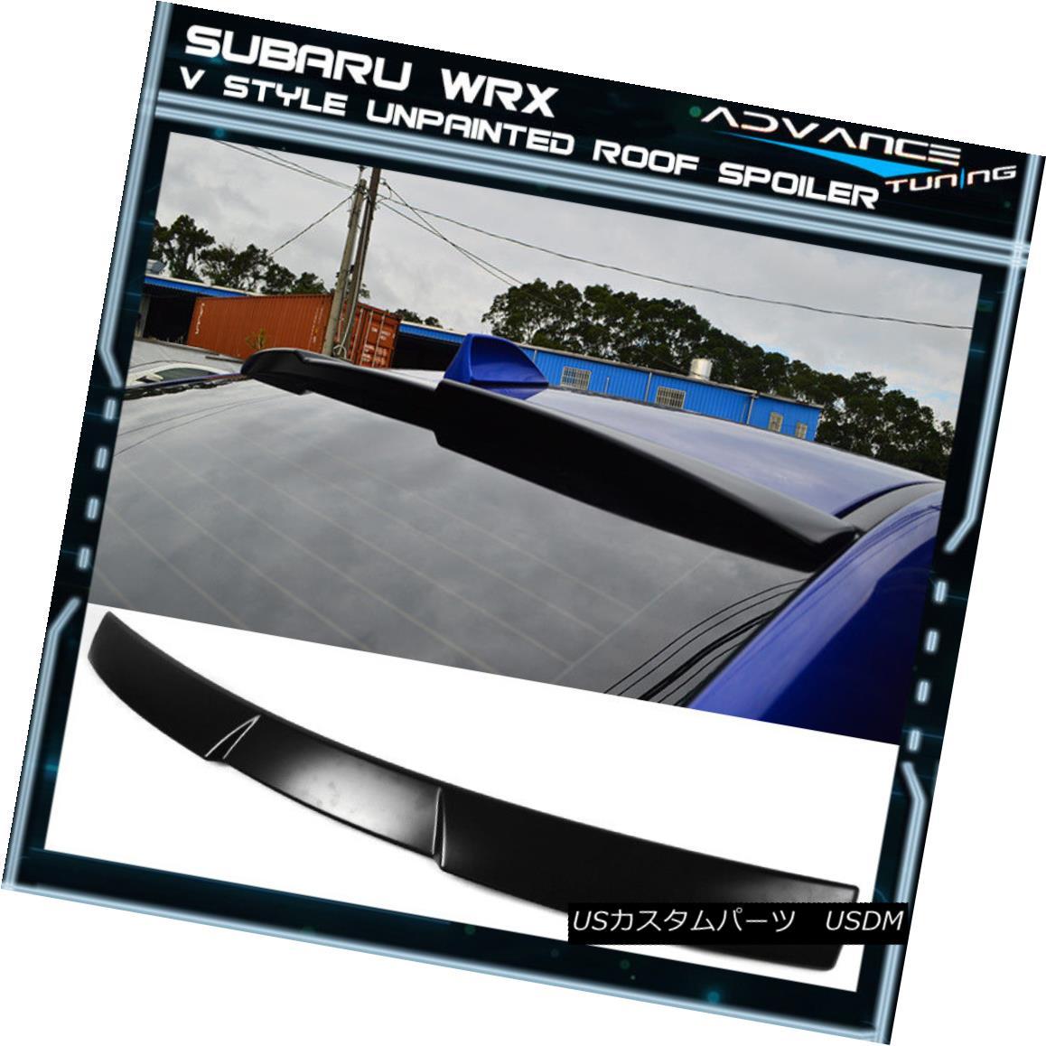 エアロパーツ Fits 15-18 Subaru Impreza WRX STI V Style Unpainted Roof Spoiler - ABS フィット15-18スバルインプレッサWRX STI Vスタイル無塗装ルーフスポイラー - ABS