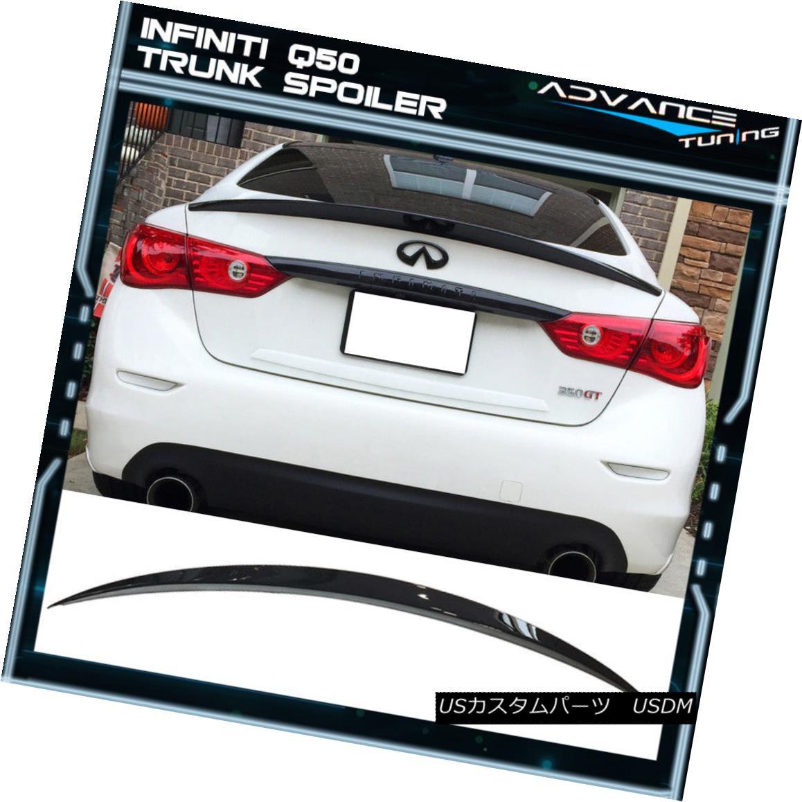 エアロパーツ For 14-18 Infiniti Q50 Sedan 4Dr ER Eau Style Trunk Spoiler - ABS Glossy Black 14-18インフィニティQ50セダン4Dr ERオースタイルのトランク・スポイラー - ABSグロッシー・ブラック