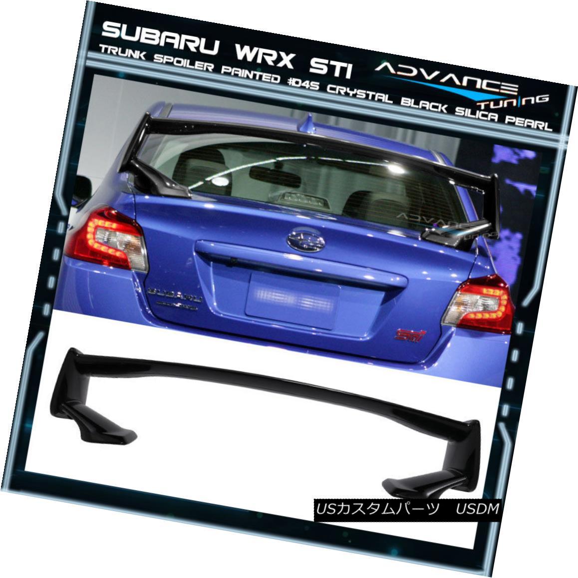 エアロパーツ Fits 15-18 Subaru WRX STI Trunk Spoiler Painted #D4S Crystal Black Silica Pearl フィット15-18スバルWRX STIトランク・スポイラー#D4Sクリスタル・ブラック・シリカ・パール