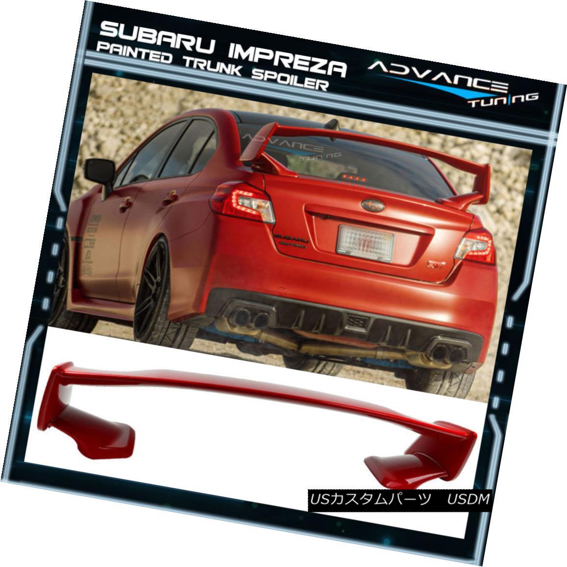 エアロパーツ Fits 15-18 Subaru WRX STI Style ABS Trunk Spoiler Painted #C7P Lightning Red フィット15-18スバルWRX STIスタイルABSトランクスポイラー塗装#C7Pライトニングレッド