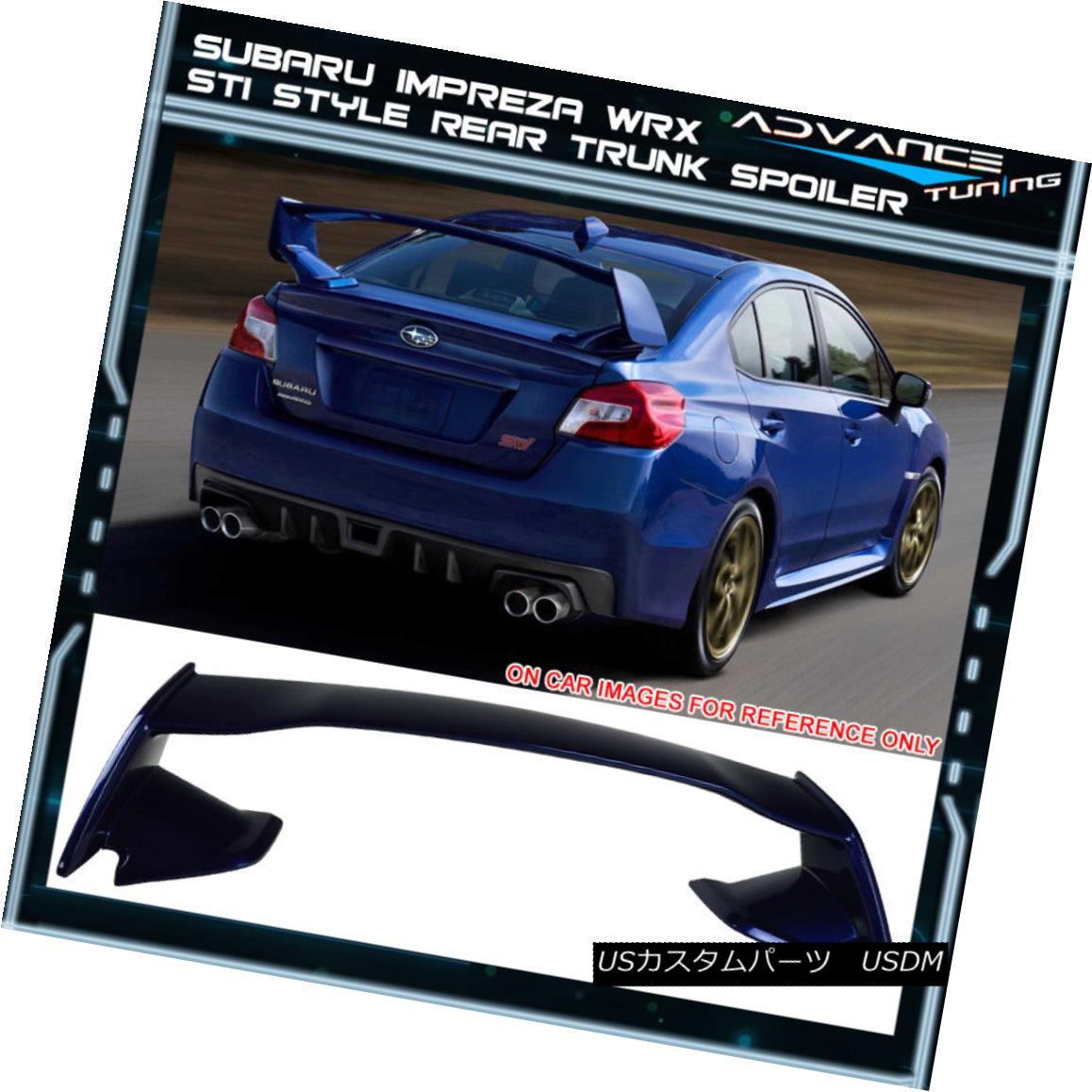 エアロパーツ Fits 15-18 Subaru WRX STI Style Trunk Spoiler Painted Galaxy Blue Metallic # E8H フィット15-18スバルWRX STIスタイルトランクスポイラーペイントギャラクシーブルーメタリック#E8H