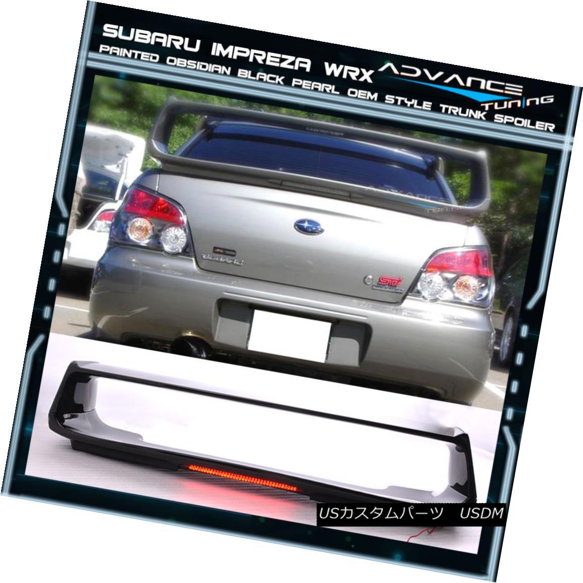 エアロパーツ 02-07 Fit WRX OEM Painted Color Obsidian Black Pearl ABS Trunk Spoiler (#32J) 02-07フィットWRX OEM塗装色黒曜石ブラックパールABSトランクスポイラー(#32J)