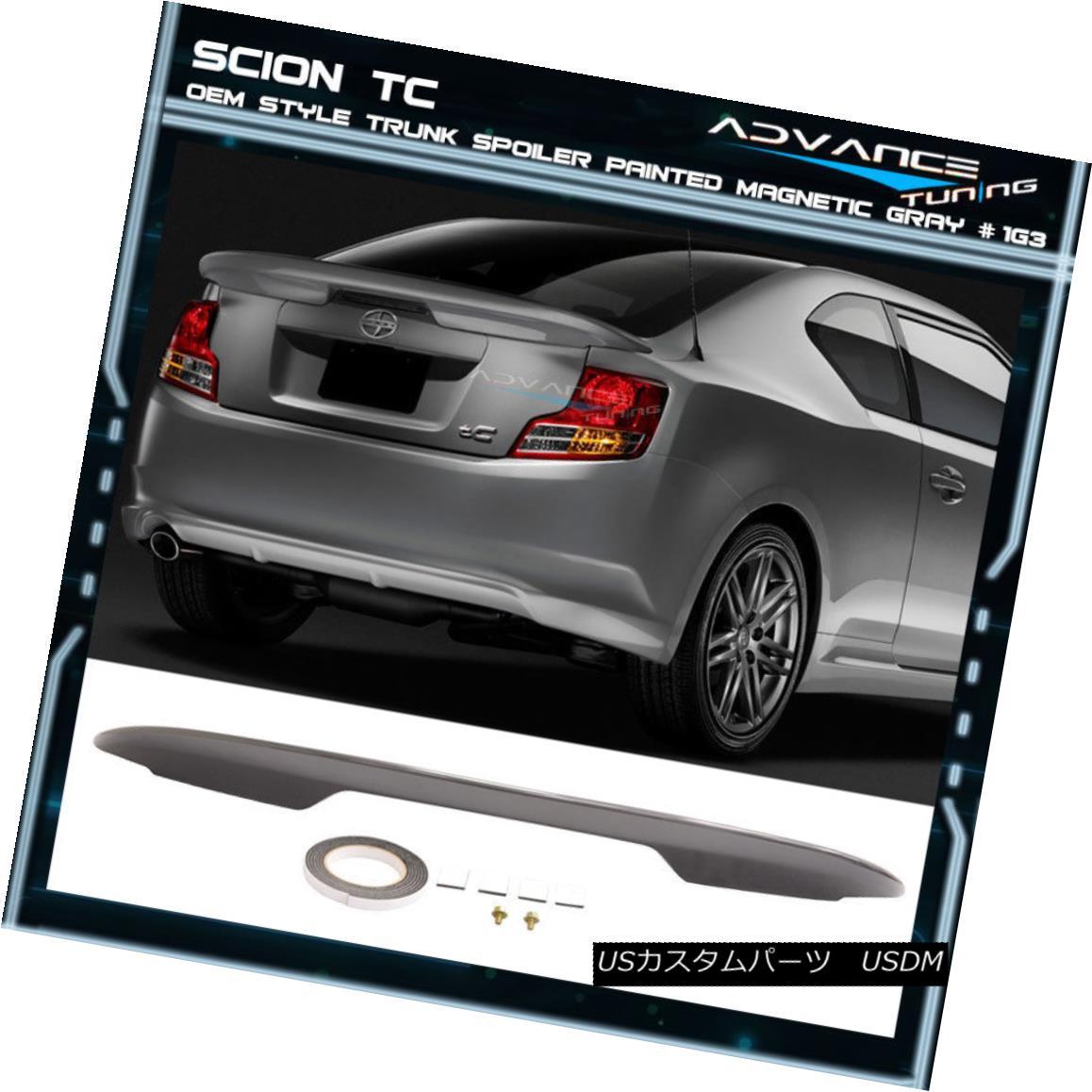 エアロパーツ Fits 11-16 Scion tC OE Trunk Spoiler OEM Painted Color Magnetic Gray # 1G3 フィット11-16シオンtC OEのトランク・スポイラーOEM塗装カラー磁気グレー#1G3