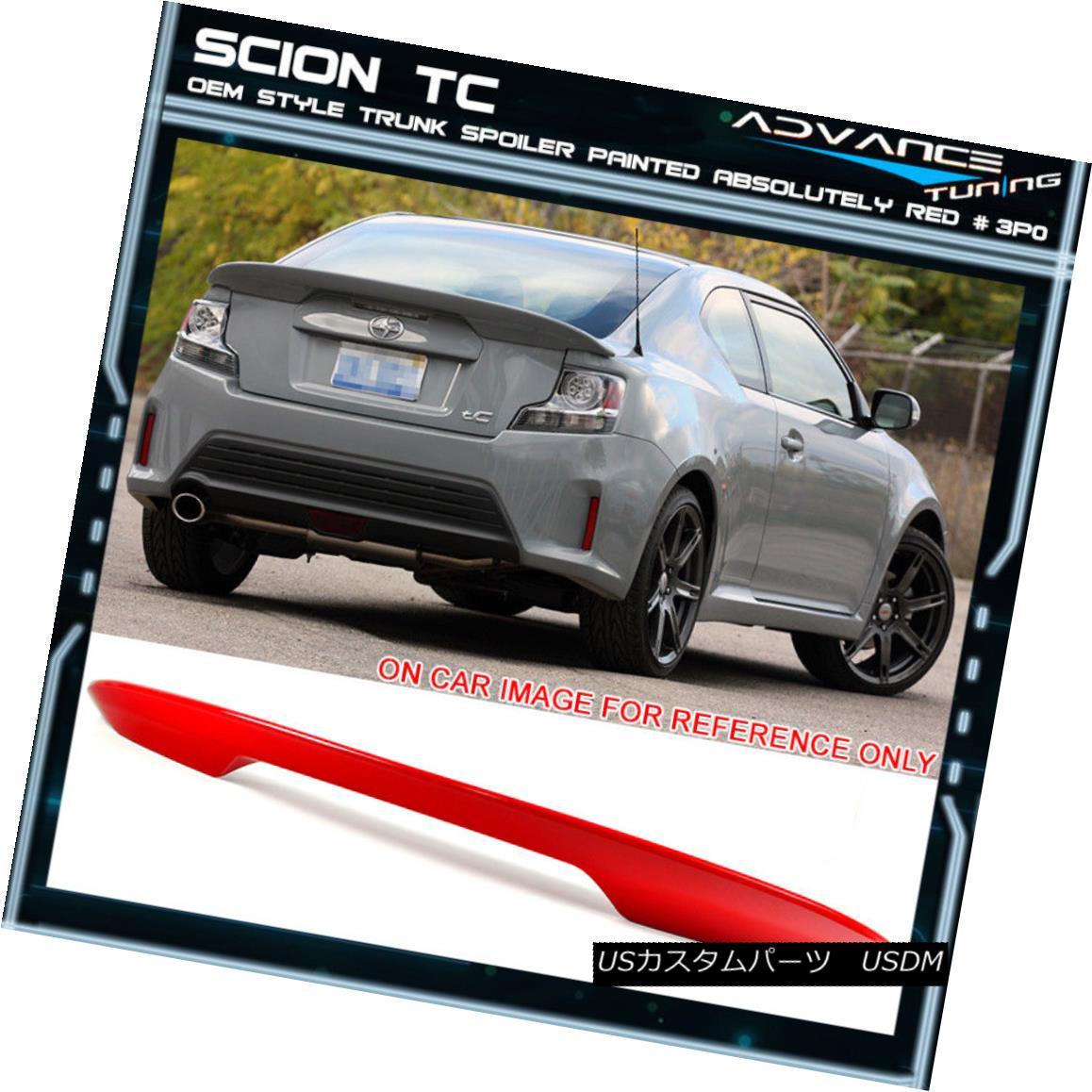 エアロパーツ Fits 11-16 Scion tC OE Trunk Spoiler OEM Painted Color Absolutely Red # 3P0 フィット11-16シオンtC OEのトランク・スポイラーOEM塗装色絶対に赤#3P0
