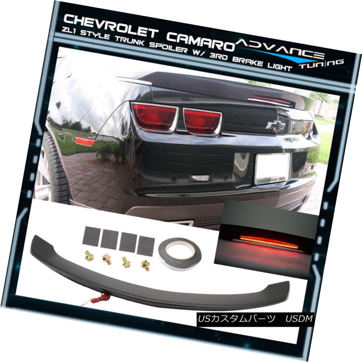 エアロパーツ Camaro ZL1 Style Unpainted Trunk Spoiler Black LED 3Rd Brake Light Lamp カマロZL1スタイル未塗装トランク・スポイラーブラックLED 3Rdブレーキランプ