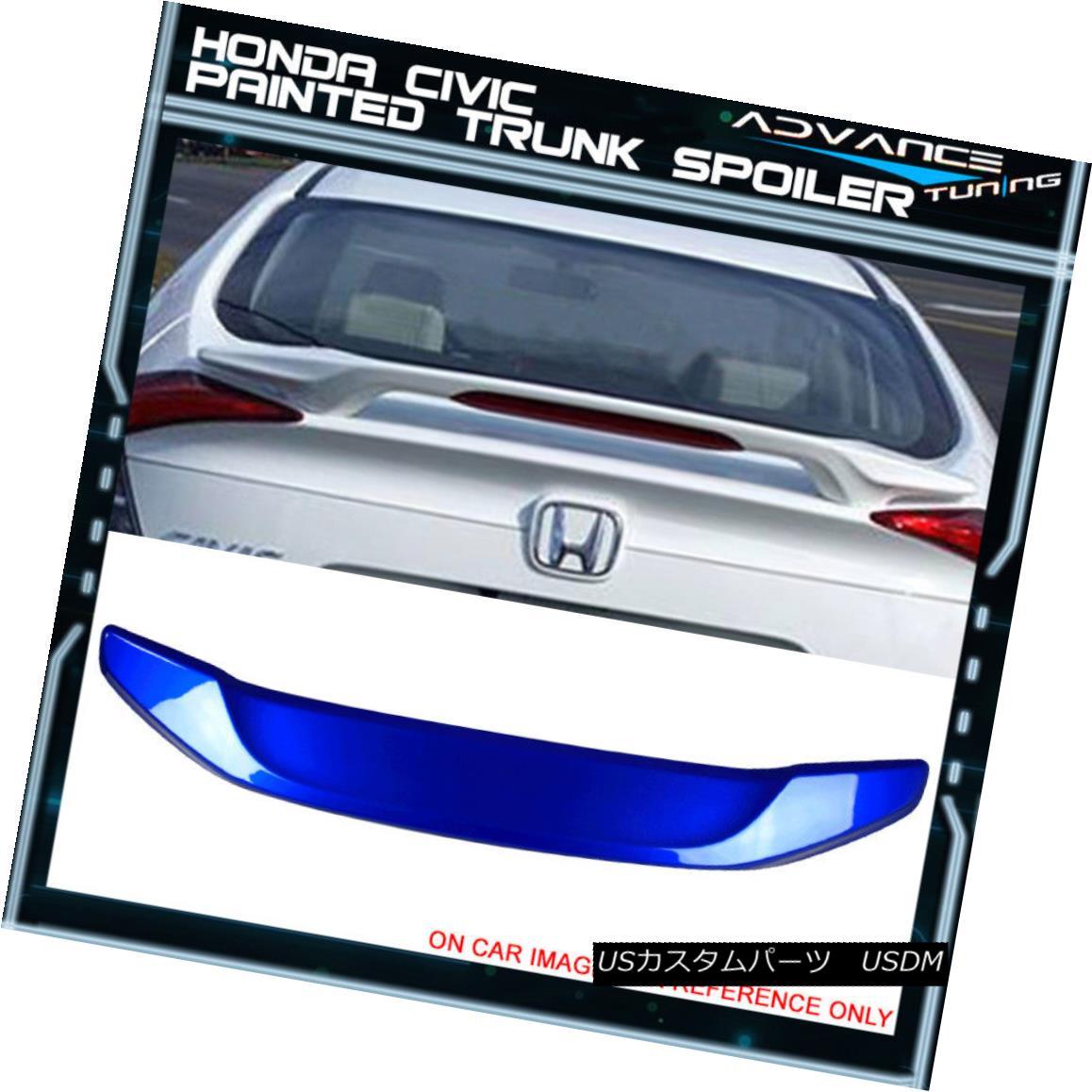 エアロパーツ 16-18 Civic Sedan Trunk Spoiler OEM Painted Color #B593M Aegean Blue Metallic 16-18シビックセダントランク・スポイラーOEM塗装カラー#B593Mエーゲ・ブルー・メタリック