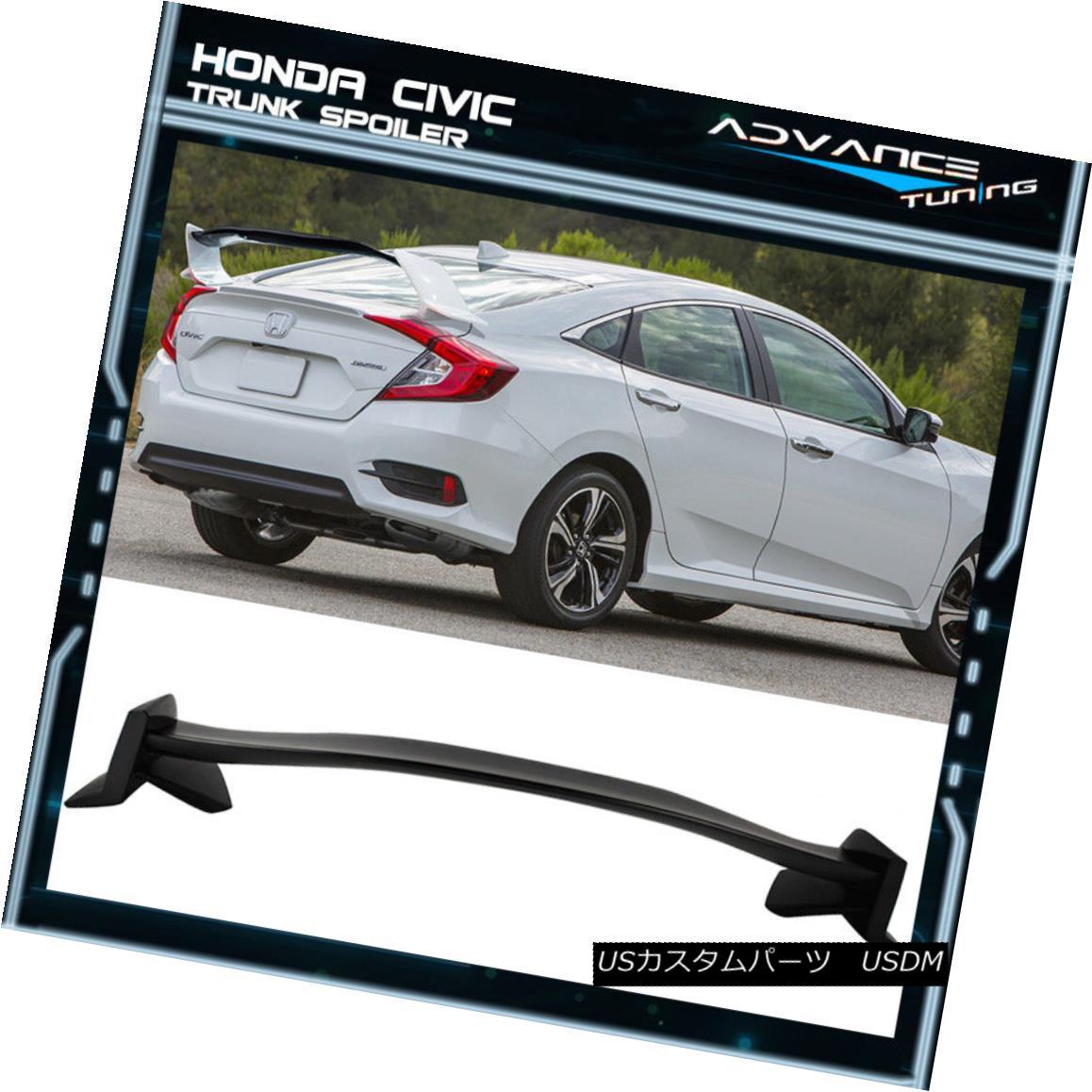 エアロパーツ 16-18 Honda Civic 10th X Sedan 4Dr Type-R Unpainted Trunk Spoiler Wing - ABS 16-18ホンダシビック10th Xセダン4Drタイプ-R無塗装トランクスポイラーウイング - ABS