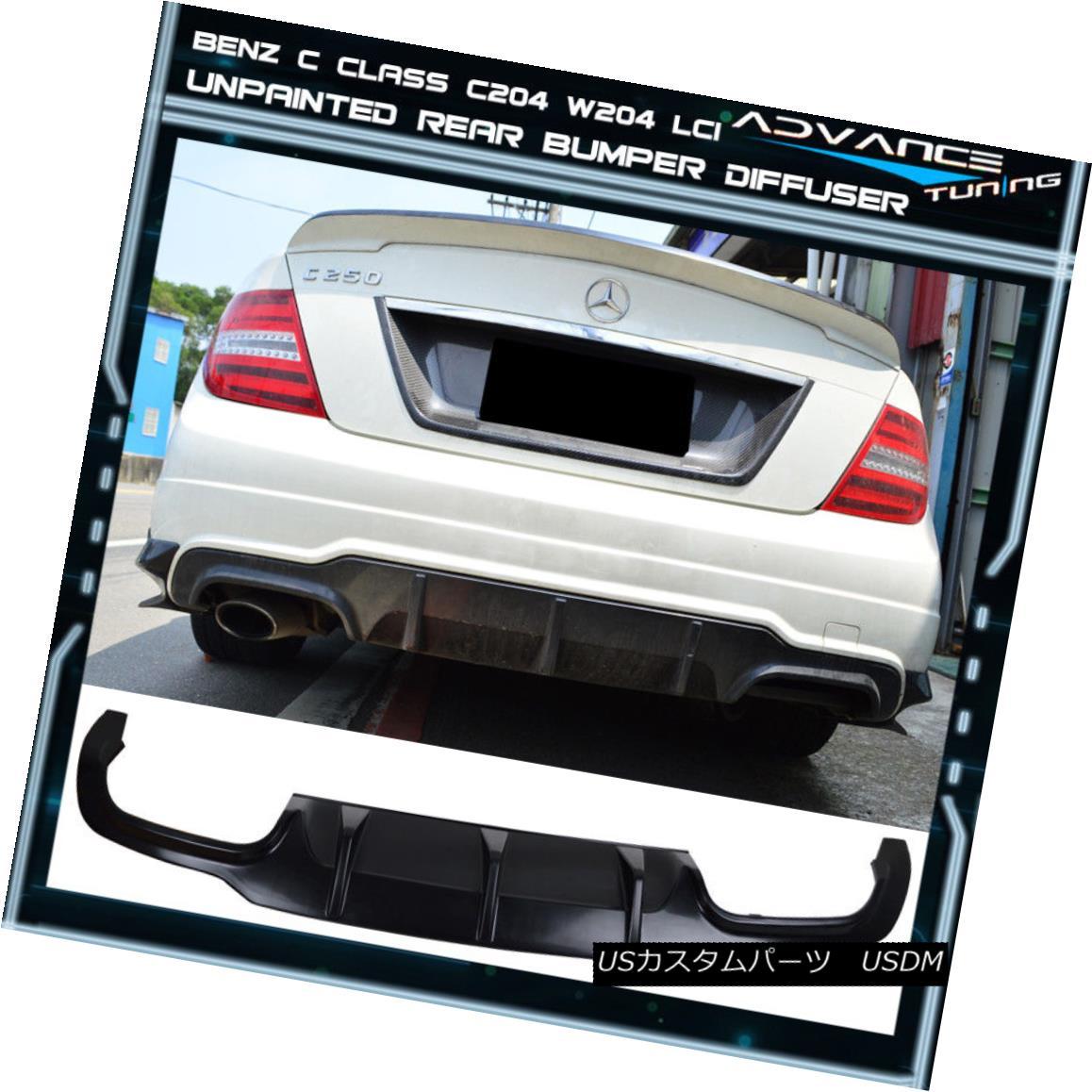 エアロパーツ 12-13 Mercedes Benz C Class C204 W204 LCI AMG Rear Bumper Lower Diffuser Valance 12-13メルセデスベンツCクラスC204 W204 LCI AMGリアバンパー下部ディフューザーバランス