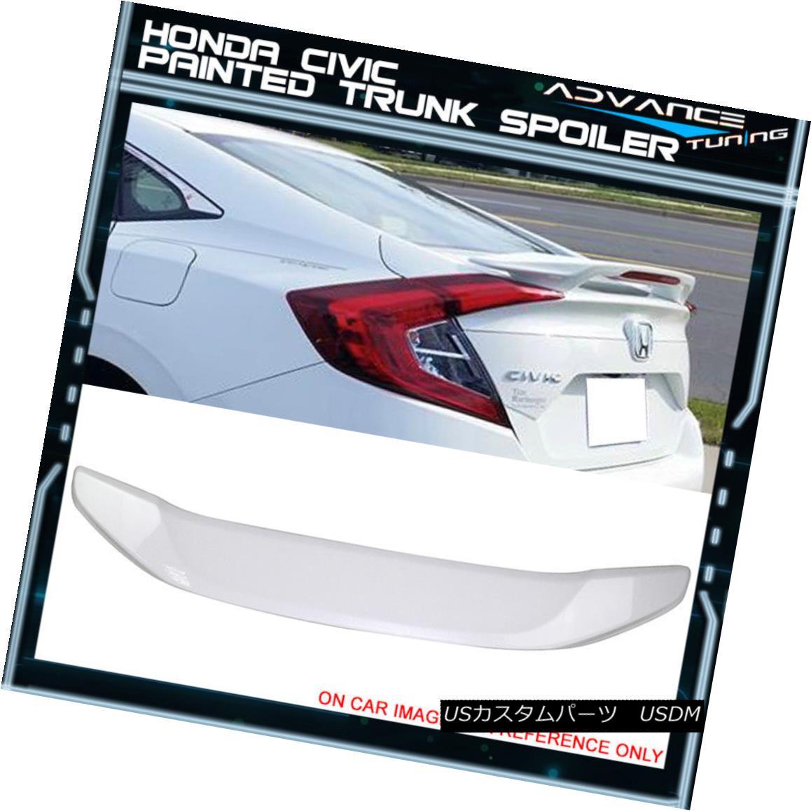 エアロパーツ 16-18 Civic Sedan Trunk Spoiler OEM Painted Color #NH788P White Orchid Pearl 16-18シビックセダントランクスポイラーOEM塗装色#NH788Pホワイトオーキッドパール