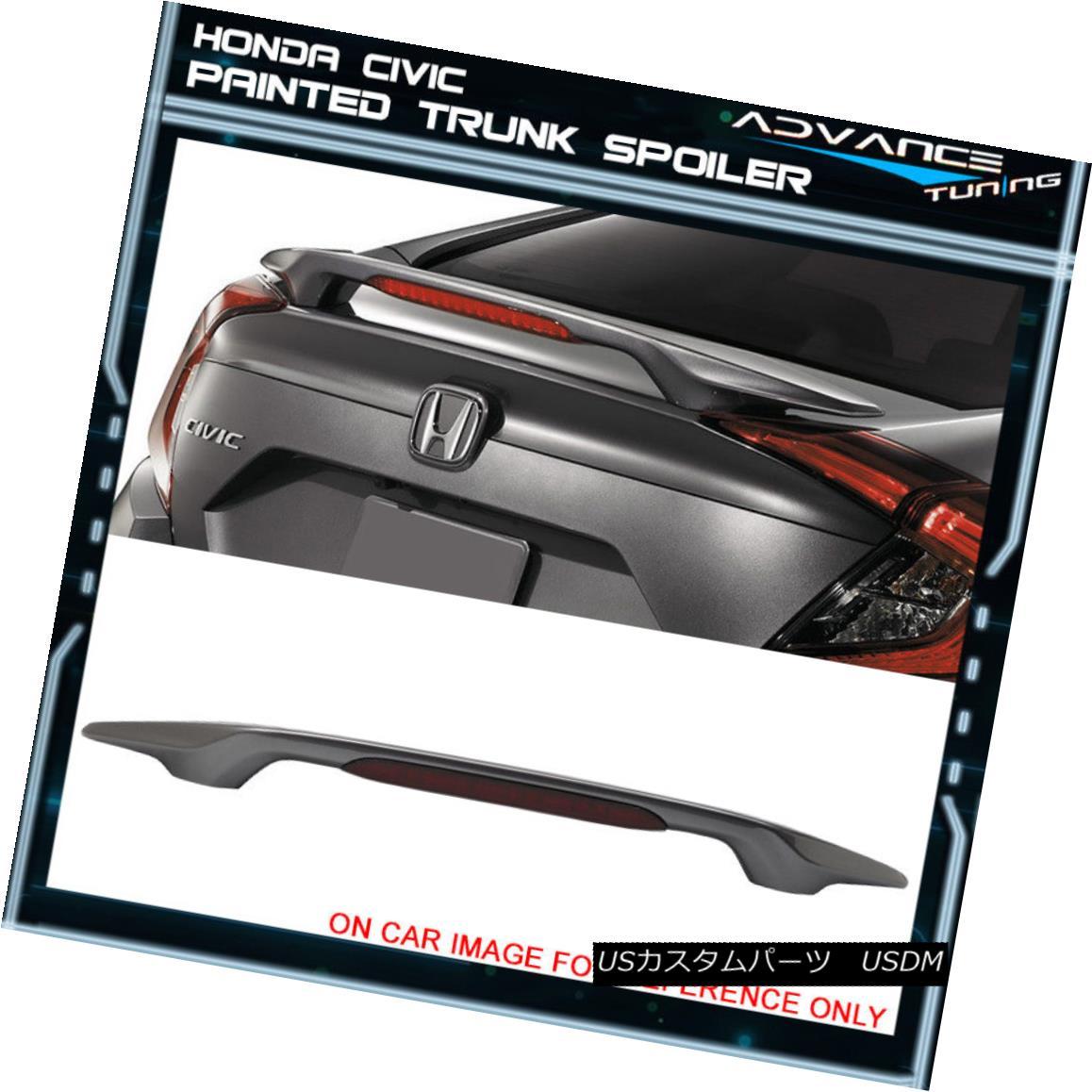 エアロパーツ 16-18 Civic Sedan Trunk Spoiler OEM Painted Color #NH797M Modern Steel Metallic 16-18シビックセダントランクスポイラーOEM塗装カラー#NH797Mモダンスチールメタリック