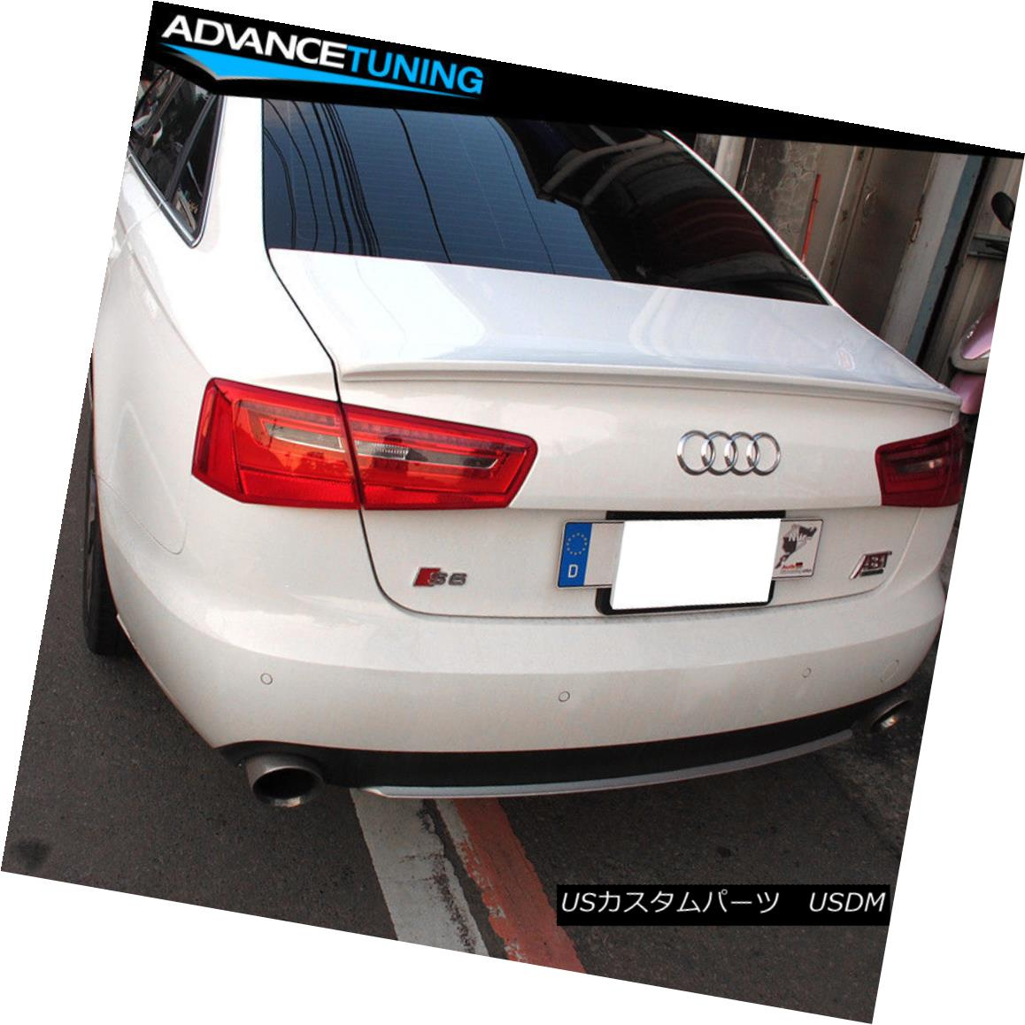 エアロパーツ Fits 12-14 Audi A6 C7 D Style Trunk Spoiler OEM Painted Color #LY9C Ibis White フィット12-14アウディA6 C7 Dスタイルのトランク・スポイラーOEM塗装カラー#LY9Cアイビスホワイト