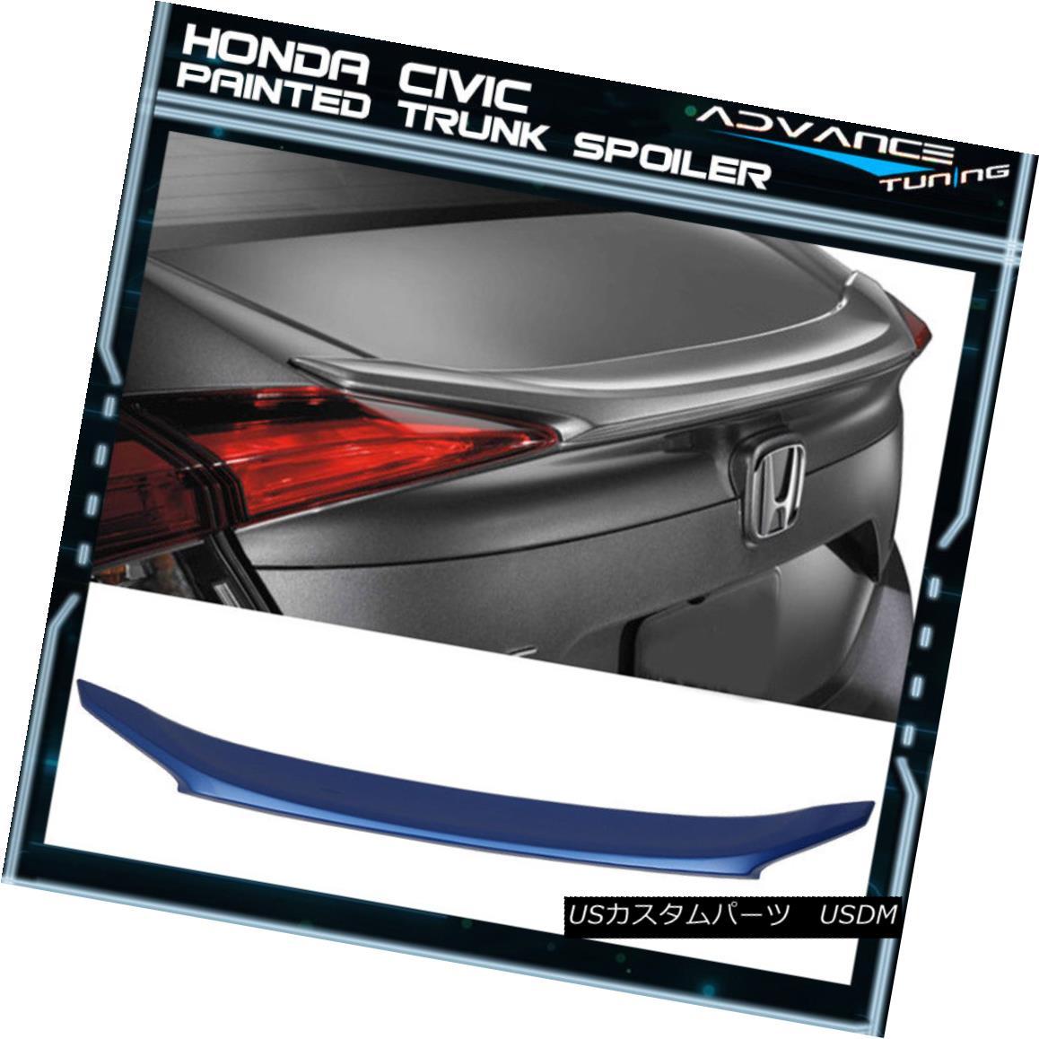 エアロパーツ 16-18 Honda Civic X 4Dr OE Trunk Spoiler ABS Painted Aegean Blue Metallic #B593M 16-18 Honda Civic X 4Dr OEトランク・スポイラーABS塗装Aegean Blue Metallic#B593M