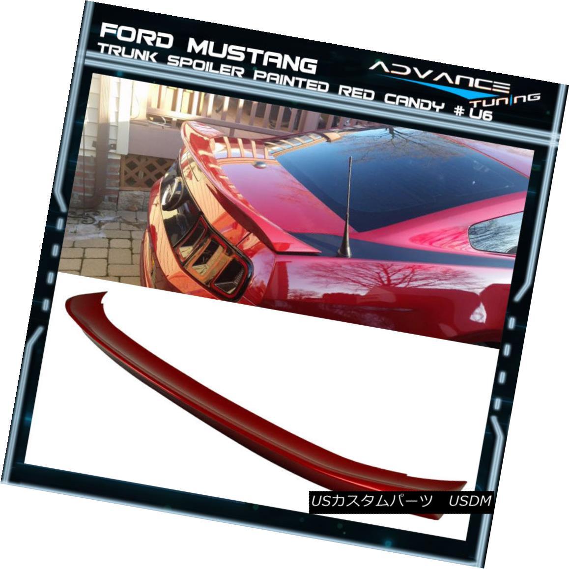 エアロパーツ 10-14 Ford Mustang D Style Trunk Spoiler OEM Painted Color Red Candy # U6 10-14フォードマスタングDスタイルのトランクスポイラーOEM塗装カラーレッドキャンディ#U6