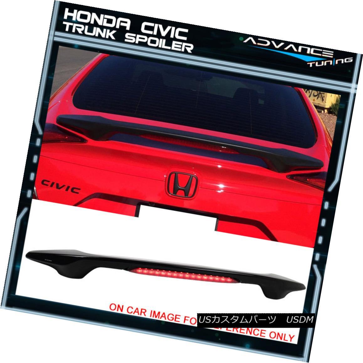 エアロパーツ 16-18 Civic LED Brake Light Trunk Spoiler Painted #NH731P Crystal Black Pearl 16-18シビックLEDブレーキライトトランクスポイラー塗装#NH731Pクリスタルブラックパール